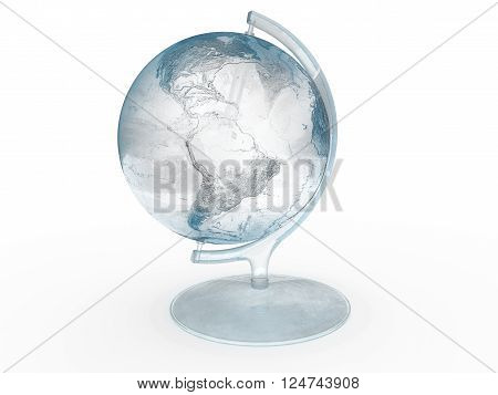 Globe made of ice isolated on a white background. 3D Illustration.