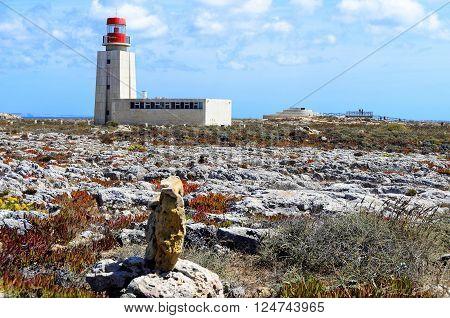 View of Cabo Sao Vicente lighthouse, Sagres, Algarve region, Portugal