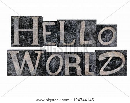Hello world metal letter stamp isolated on a white background.