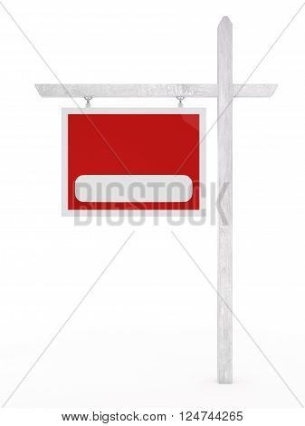 Isolated blank for sale sign on a white background.
