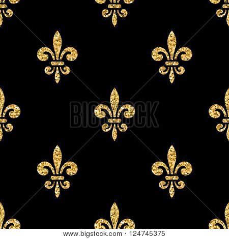 Golden fleur-de-lis seamless pattern. Gold glitter and black template. Floral texture. Glowing fleur de lis royal lily. Design vintage for card wallpaper wrapping textile etc. Vector Illustration.