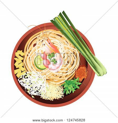 Thai Cuisine Pad Thai or Thai Stir Fried Noodles with Prawn. One of The Most Popular Dish in Thailand.