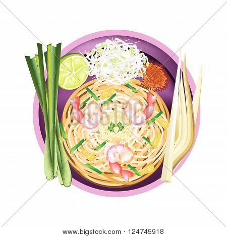 Thai Cuisine Pad Thai or Thai Stir Fried Noodles with Prawns. One of The Most Popular Recipe in Thailand.