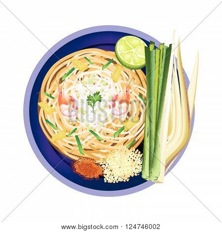 Thai Cuisine Pad Thai or Thai Traditional Stir Fried Noodles with Shrimps. One of The Most Popular Recipe in Thailand.