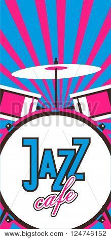 vector illustration musical theme of jazz and blues vertical flyer with musical instruments for orchestra