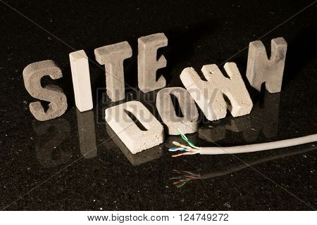 Site down text when website is unavailable because of maintenance or network problems poster