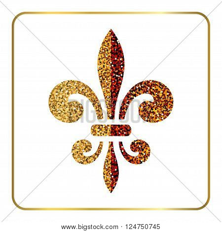 Golden fleur-de-lis heraldic emblem. Gold glitter sign isolated on white background. Design lily insignia element. Glowing french fleur de lis royal lily. Elegant decoration symbol Vector Illustration