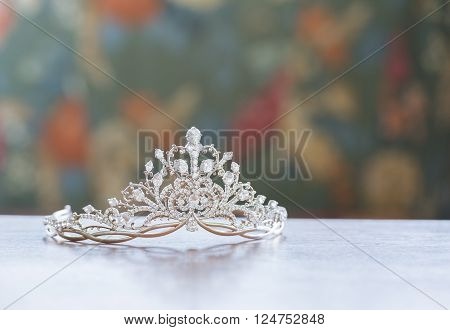 Beautiful tiara put on the table for beauty pageant