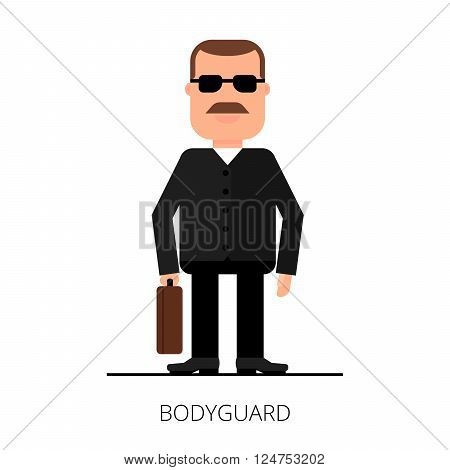 Bodyguard with a briefcase. Security of a jacket. VIP protection poster