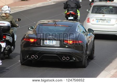 Monte-Carlo Monaco - April 6 2016: Jaguar F-Type Coupe R (Rear View) on Avenue d'Ostende in Monaco. South of France