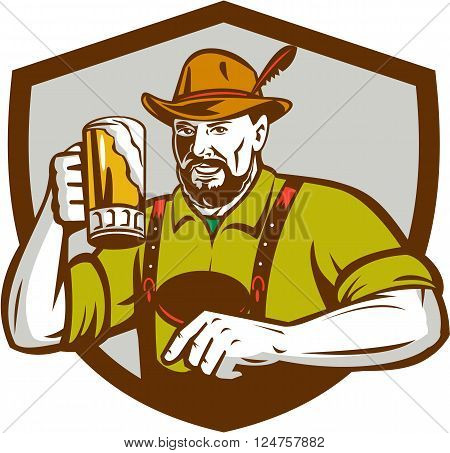 Illustration of a German Bavarian beer drinker raising beer mug for Oktoberfest toast wearing lederhosen and German hat set inside shield creest done in retro style.