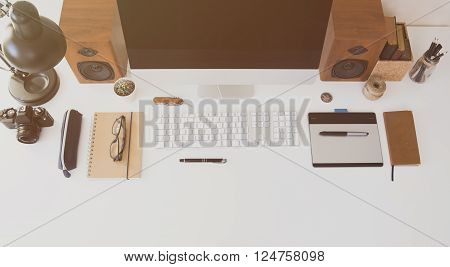 Top view modern office desk hipster styled