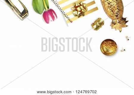 Tulip gold stapler pencil.Table view. Still life of fashion. Flat lay. White background mockup. Woman accessories.