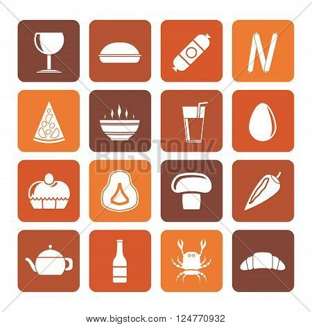 Flat shop, food and drink icons - vector icon set 2