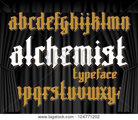 Alchemist modern custom gothic alphabet font on black curtain background. Alchemist magic vector font set