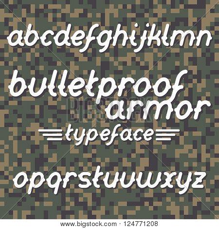 Bulletproof armor typeface. Bulletproof font set. Vector bulletproof armor typeface on military camouflage background
