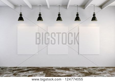 3d bright interior setup with ceiling lamp and blank frame canvas