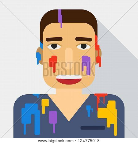 Portrait of a man in the paint. Holi festival. Vector flat illustration.
