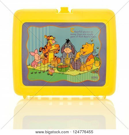 Winneconne WI - 6 April 2016: Plastic lunch box featuring Winnie the Pooh on an isolated background.