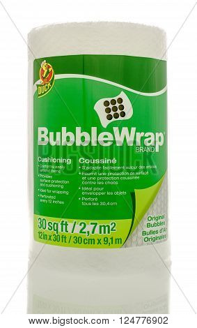 Winneconne WI - 1April 2016: A roll of Bubble Wrap Brand cushioning used for wrapping things to protect them.