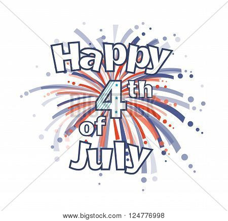 Happy 4th of July clip art with red and blue firework. Eps10