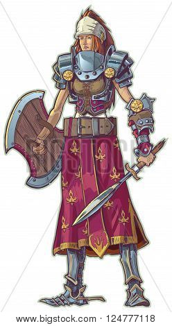 Vector cartoon clip art illustration of a warrior woman with red hair. She is sporting various pieces of piecemeal armor and weapons.