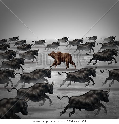 Against the current business concept as a different way to invest or going the opposite direction as a bear in a bull market metaphor for individual financial thinking and confidence in a contrary forecast. 3D poster