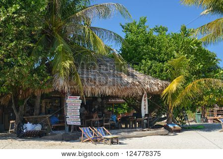 Lipe island Thailand - February 12 2016 : Beachside Coconut leaf hut cafe on Lipe island Thailand