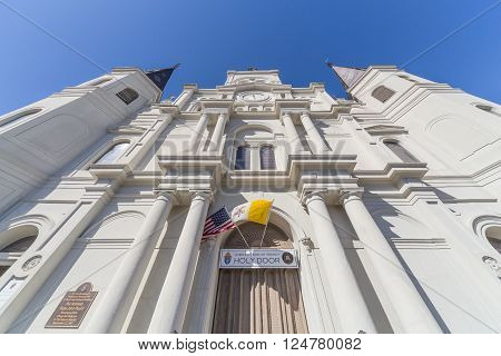 Main Entrance To St. Louis Cathedral In French Quarter, New Orleans,  Louisiana