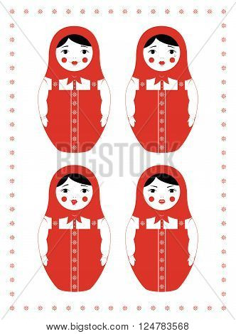 Vector illustration of  a russian nesting doll Matryoshka. Four different facial expressions - smiling, crying, mocking and angry. Simple design in three colors.