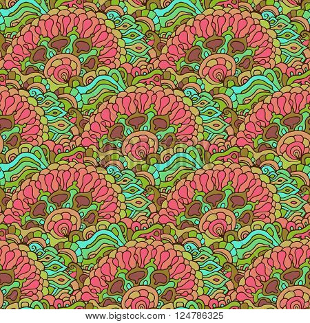 Colorful doodle ornament seamless pattern. Vector illustration