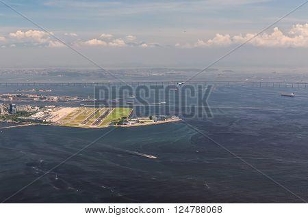 Rio de Janeiro Brazil - December 21 2012: Aerial view of Santos Dumont Airpot in Rio de Janeiro Brazil.