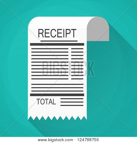 Receipt icon. Invoice icon. total bill icon. vector illustration in flat design on green background with long shadow