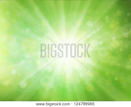 Green Sunburst abstract Background. Green rays of light. Vector bokeh blurred background.