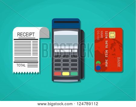 pos terminal, paper receipt and debit credit bank card. cashless payment. Vector illustration in flat design on green background