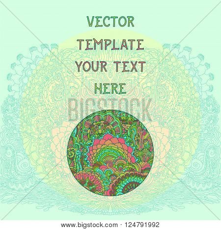 Vintage spring floral psychedelic background. Vector illustration