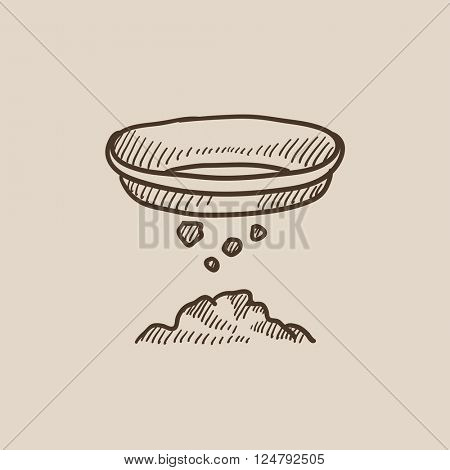 Bowl for sifting gold sketch icon.