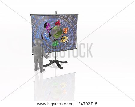 Man with presentation stand on white background, 3d render.