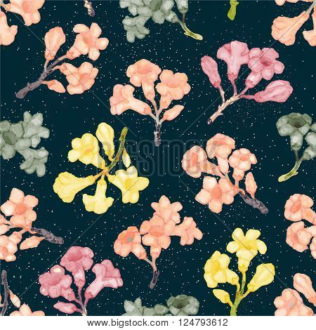 Colorful Rhododendron blossom seamless pattern. Vector hand-drawn illustration