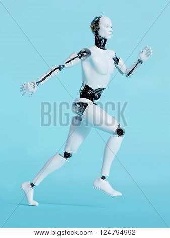 A male robot running, image 1. Blue background.