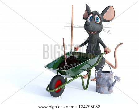 A cute smiling cartoon mouse holding a wheelbarrow full of soil and a rake and shovel ready to do some gardening. White background.