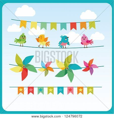 Bunting And Garland Set With Cute Birds And Color Pinwheel. Commercial Holiday Garlands. Holiday Decorations. The Festive Mood. Birds On The Tapes. Holidays Garland Sale. Holiday Garland Images.
