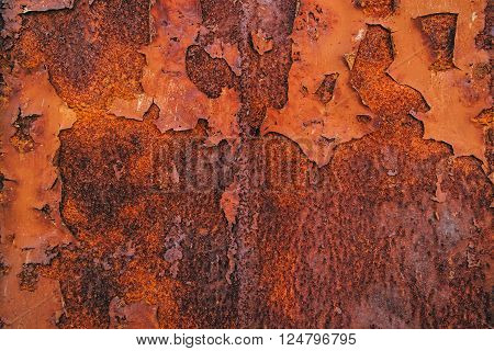 Corroded steel iron plate texture oxidized red metallic surface poster