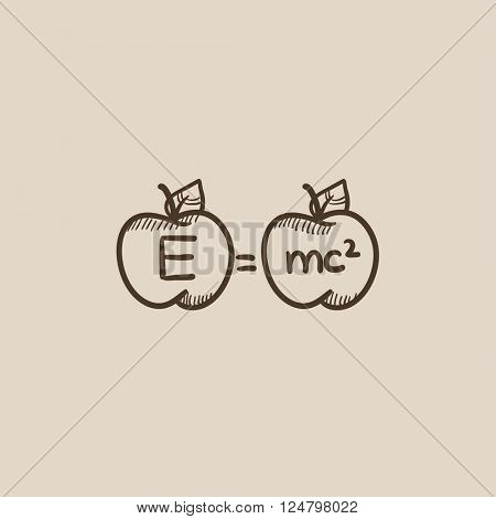 Two apples with formulae sketch icon.