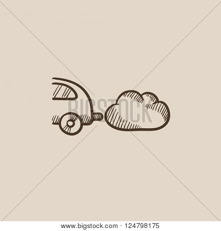 Car spewing polluting exhaust sketch icon.
