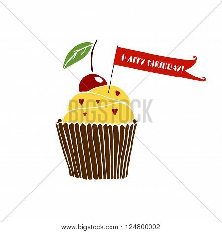 Happy birthday greeting card with cupcake on white background. Hand drawn vector cupcake. Happy birthday card template. Isolated vector cupcake. Happy birthday décor with cake.Cute cupcake with cherry