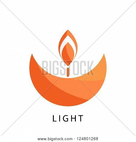 Candle logo vector template. Stylized orange religion and charity logotype icon. Spirituality and appeasement concept symbol. poster