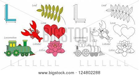 Tracing Worksheet for children. Full english alphabet from A to Z, pictures for letter L