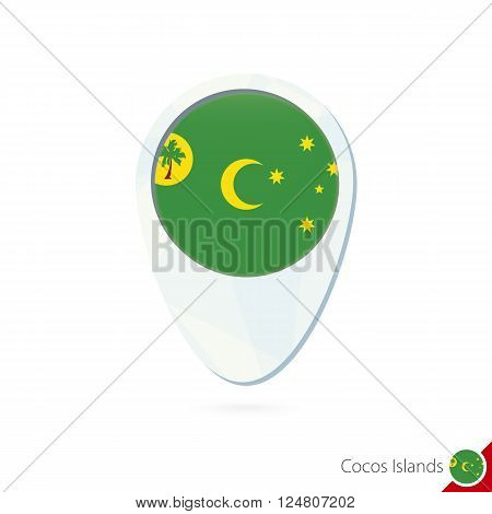 Cocos Islands Flag Location Map Pin Icon On White Background.