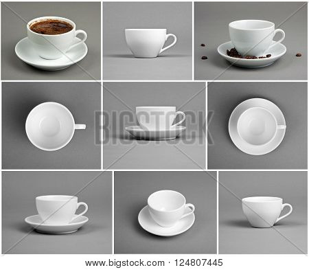Set with cups of coffee on gray background top front side view